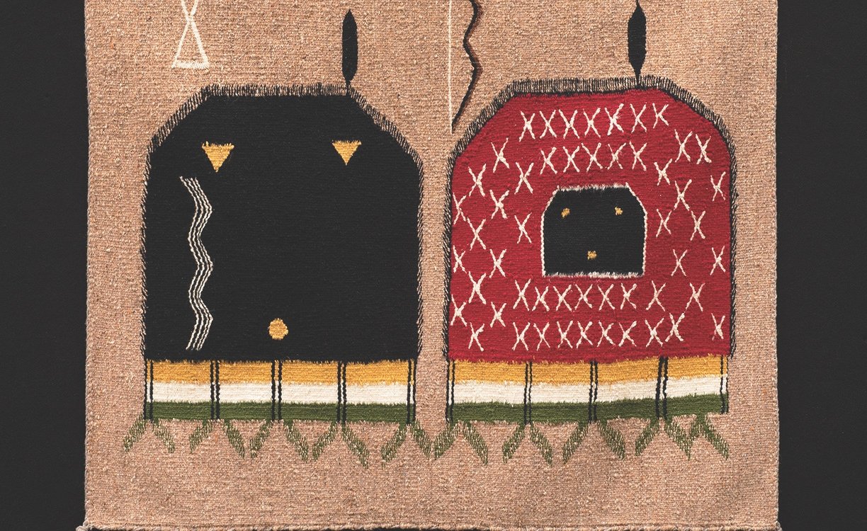"19. Unknown Weaver, ""Hero Twins,"" c.1960, dyed and woven wool, 28 x 33 inches"