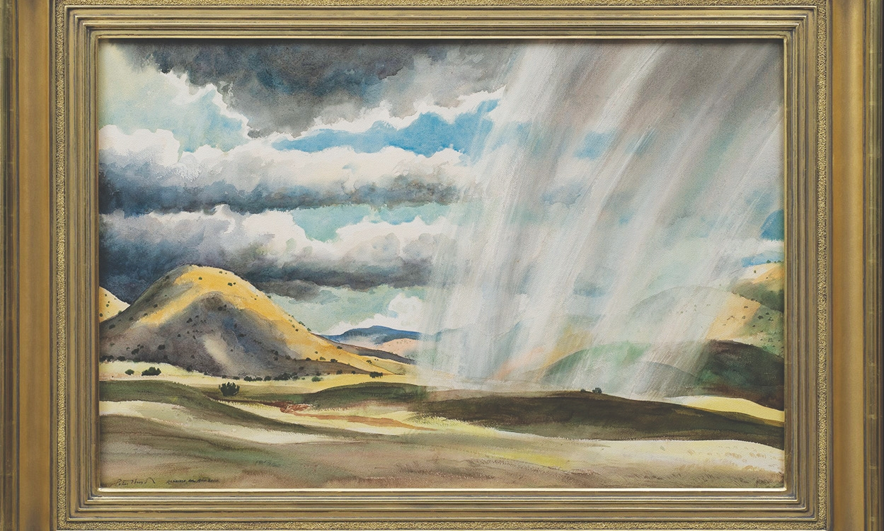 "10. Peter Hurd (1904–84) ""Aguacero en Año Seco (Downpour in a Dry Year),"" watercolor on paper, 26 x 39 inches"