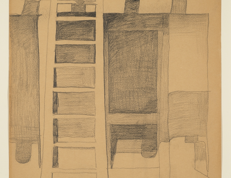"7. Georgia O'Keeffe (1887–1986) ""Untitled (Ghost Ranch Patio),"" c.1940, graphite on paper, 23 7/8 x 17 7/8 inches"