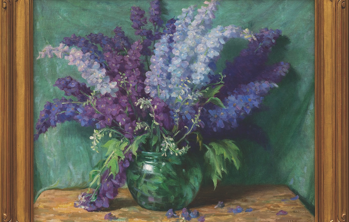 "12. Joseph Henry Sharp (1859–1953) ""Delphiniums,"" c.1940, oil on canvas, 25 x 30 inches"