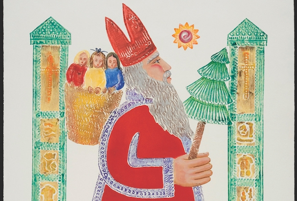 "25. Ford Ruthling (1933–2015) ""St. Nicholas,"" number #3-B, d. 1997, embossed painting, 40 x 30 inches"