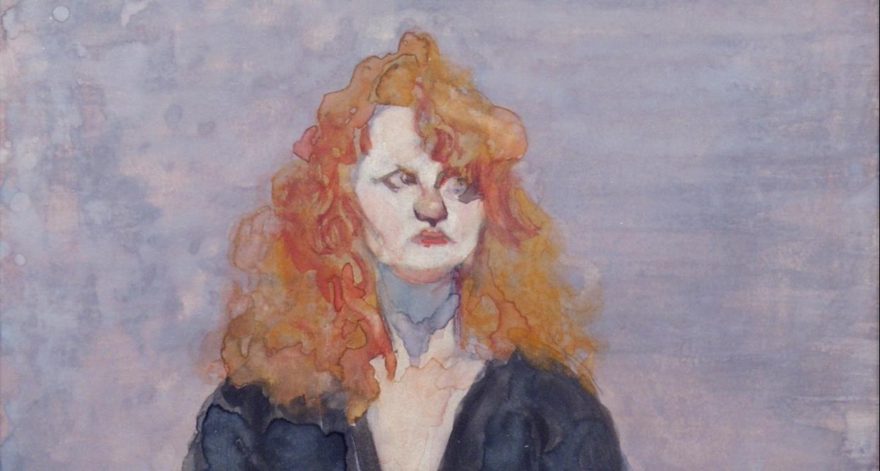 David Levine A Theatre Person, 1989 watercolor on paper 14 3/4 x 11 1/2 inches