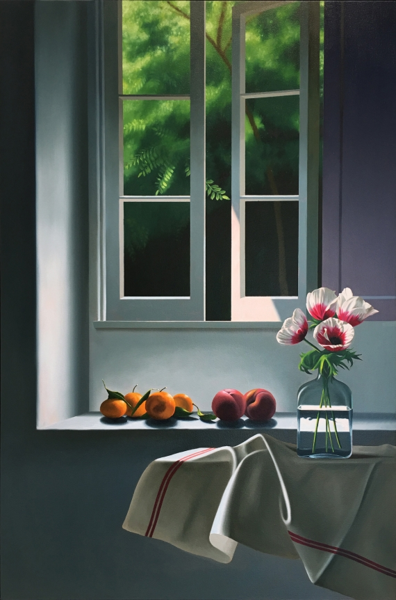Bruce Cohen, Interior with Anemones and Fruit, 2014, Oil on canvas, Still Life