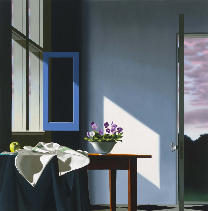 Bruce Cohen, Interior with Pansies and Sunset Sky, oil on canvas