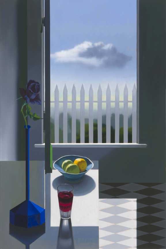 Bruce Cohen, Still Life with Window and Picket Fence, Oil on canvas