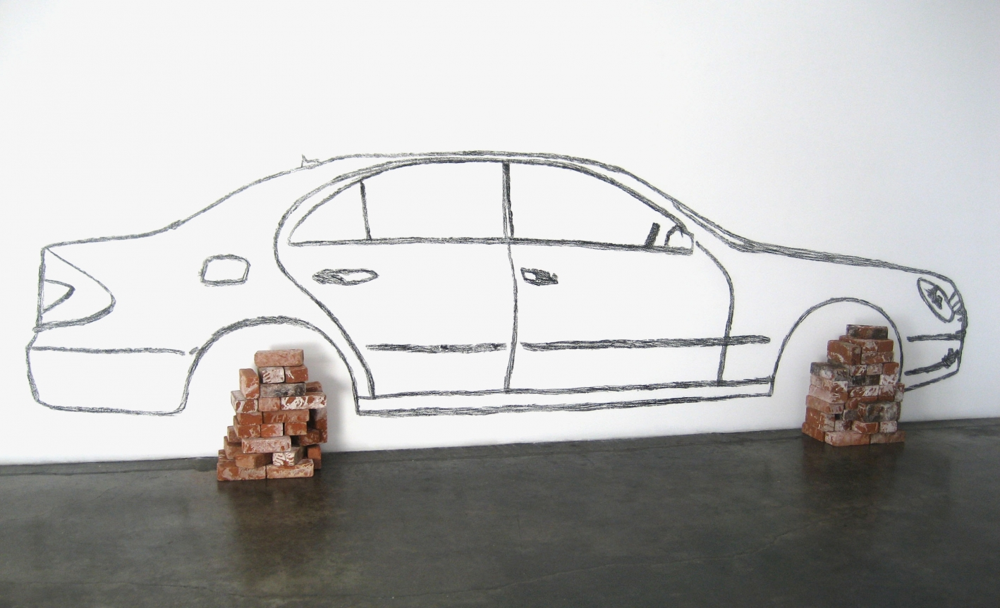 Robin Rhode, Car on Bricks, Wall Drawing