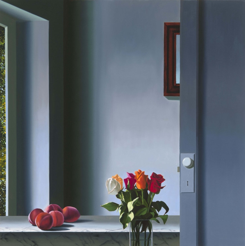 Bruce Cohen, Interior with Peaches and Roses, Oil on canvas