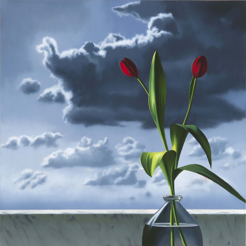 Bruce Cohen, Red Tulips Against Cloudy Sky, Oil on canvas