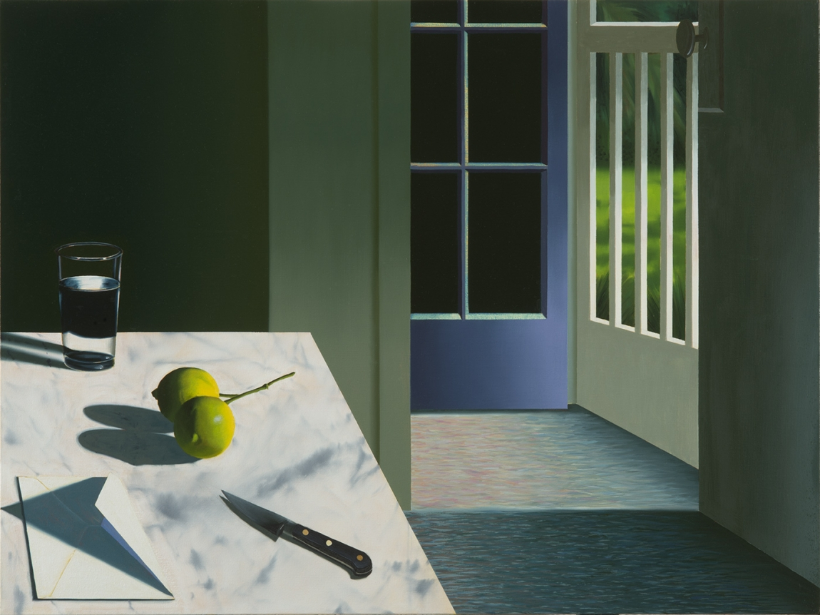 Bruce Cohen, Interior with Envelope and Limes, Painting, Still Life, Oil on canvas