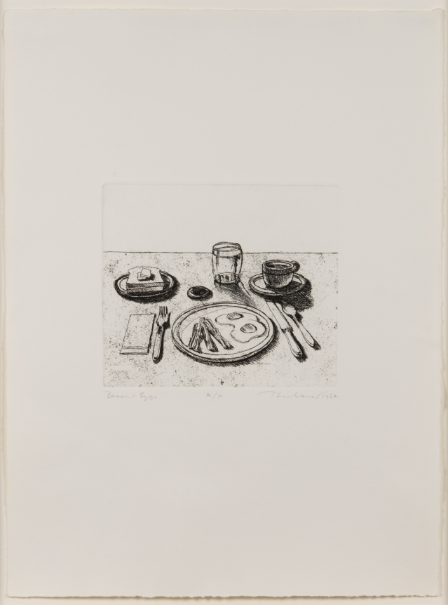 Wayne Thiebaud, Bacon and Eggs, from Delights, Etching