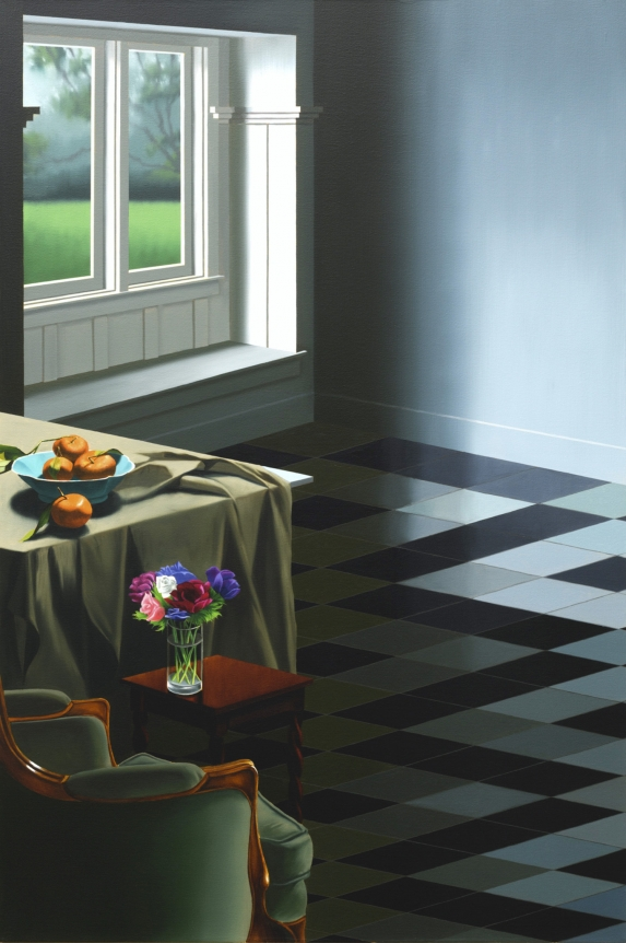 Interior with Tile Floor, Oil on canvas, 2019