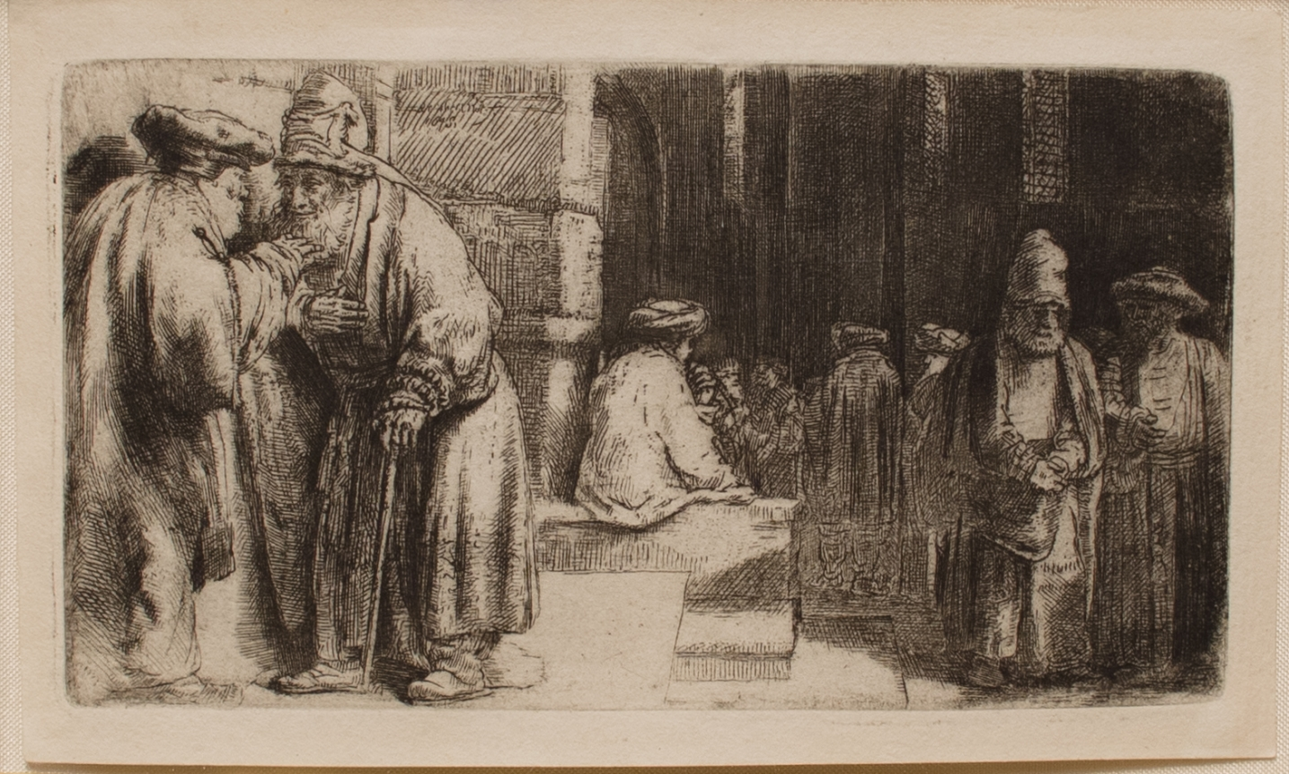 Harmensz van Rijn Rembrandt, Jews in the Synagogue, Etching and drypoint