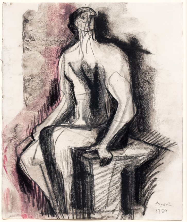 Henry Moore, Seated Figure On Bench, 1958-59, Drawing