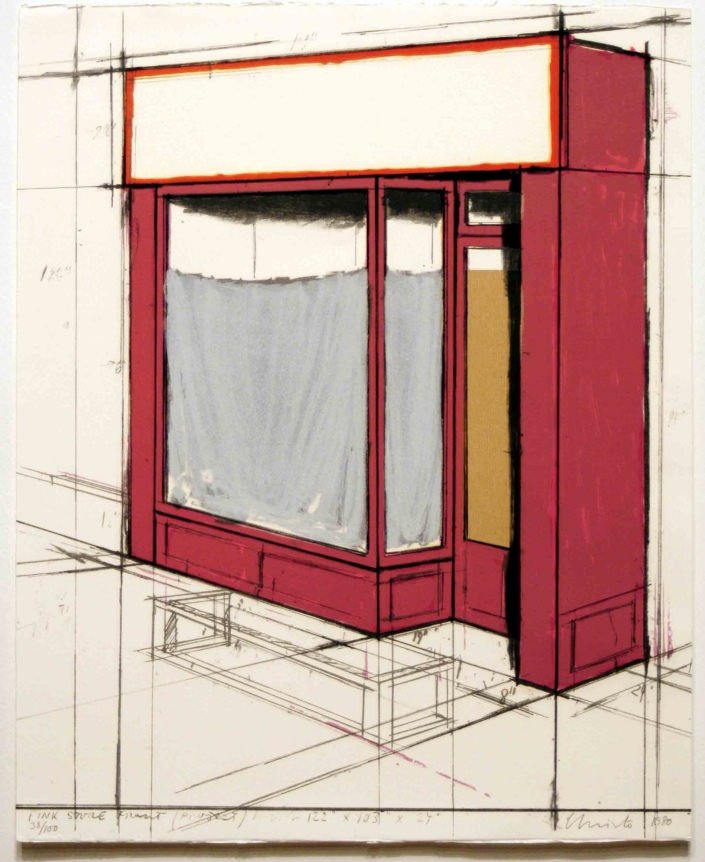 Christo, Pink Store Front, Lithograph