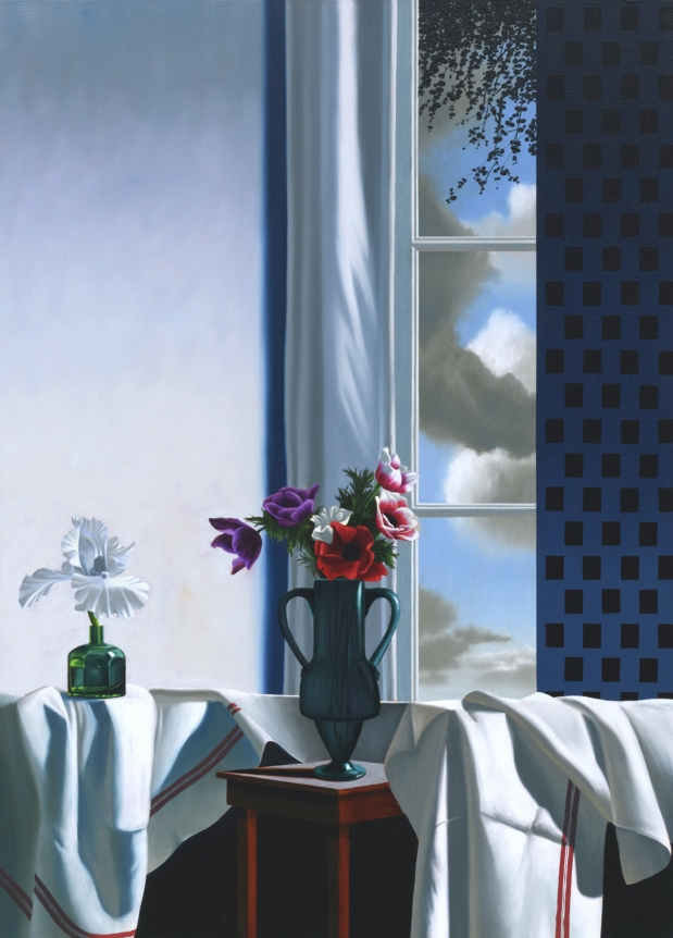 Bruce Cohen, Interior with Bearded Iris and Anemones, 2019, Oil on canvas