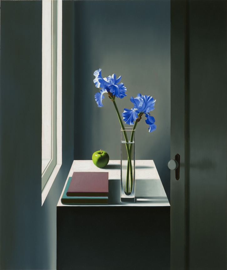 Bruce Cohen, Interior with Iris and Apple, 2017, Oil on canvas, Painting, Still life