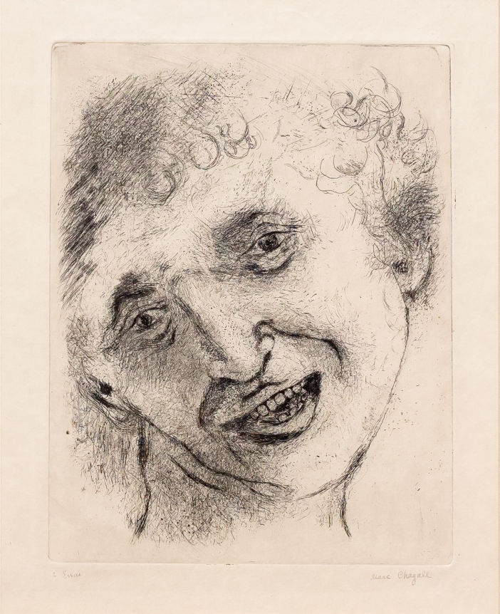Marc Chagall, Self Portrait with a Laughing expression, Etching and drypoint