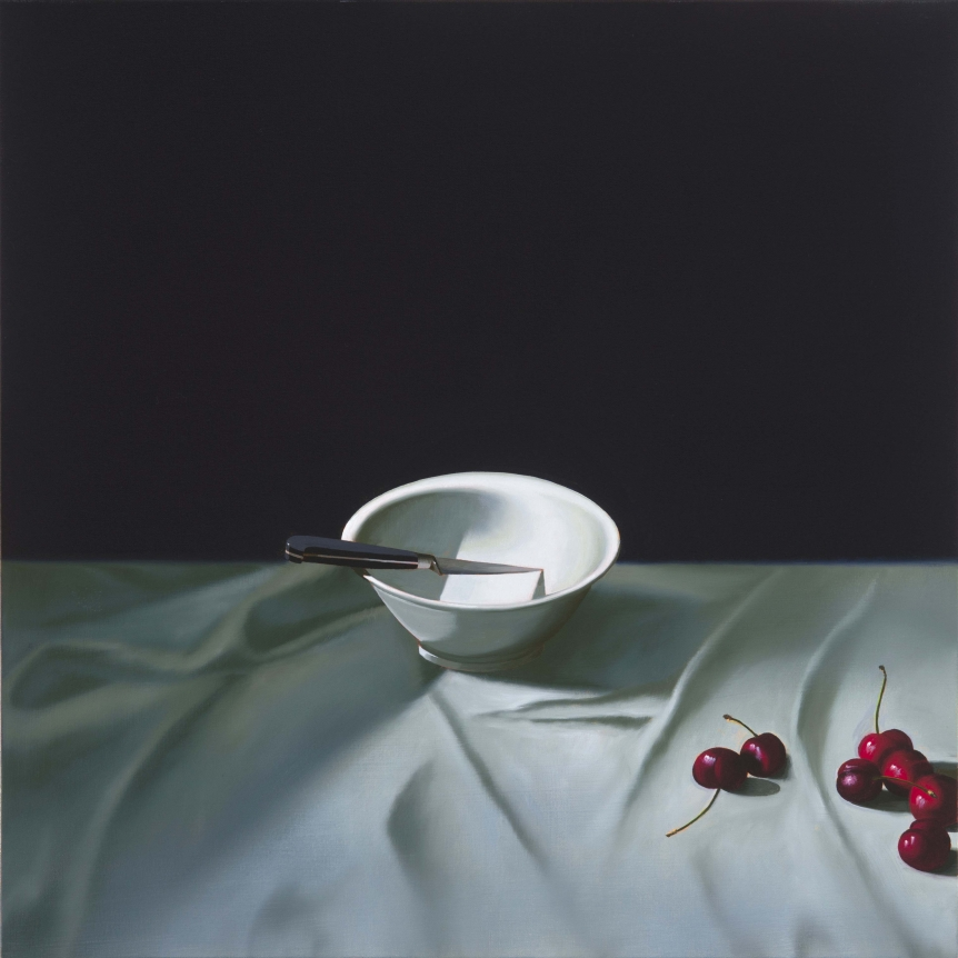 Bruce Cohen, Still Life with Knife in Bowl and Cherries, Oil on canvas