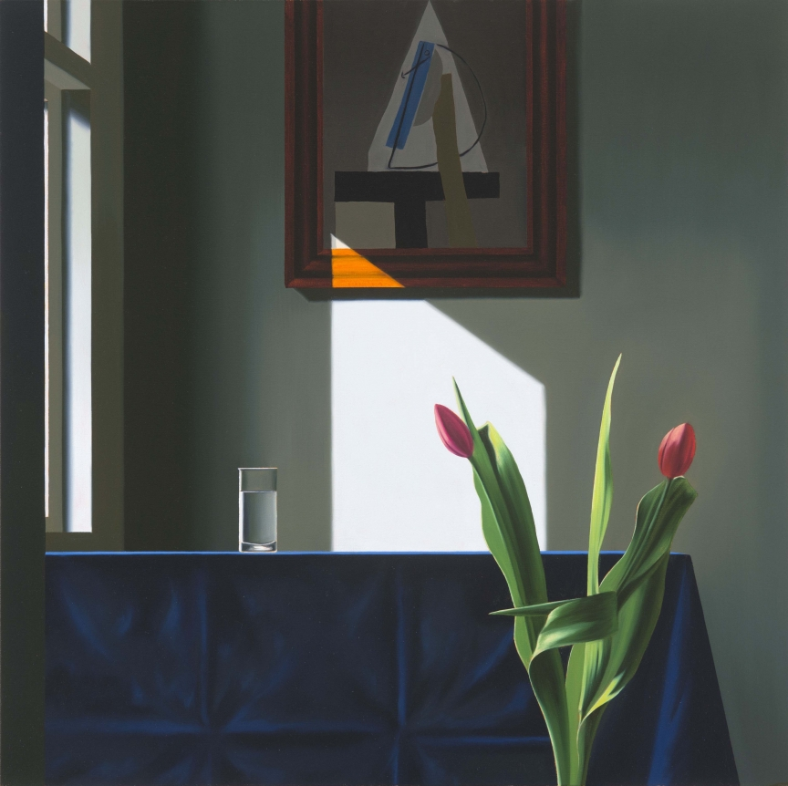 Bruce Cohen, Interior with Glass of Water and Picasso Collage, Oil on canvas