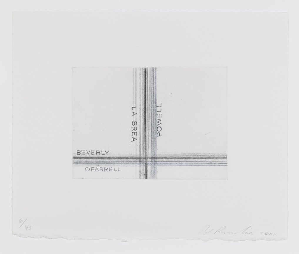 Ed Ruscha, Los Francisco, San Angeles, La Brea, Etching, Print