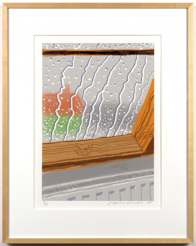 David Hockney, Rain on the Studio Window