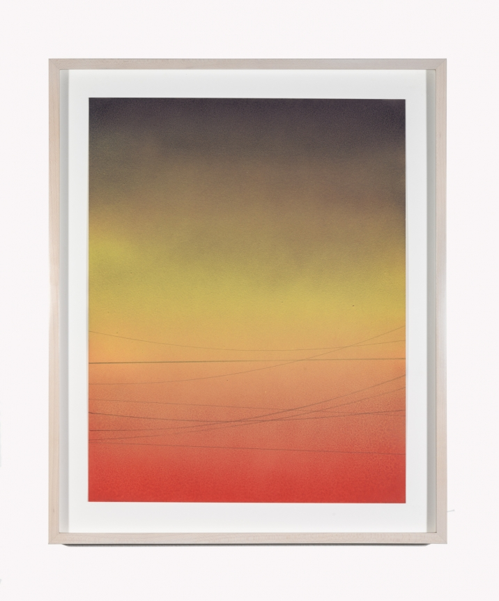 Alex Weinstein, Power Line Drawing #14, Acrylic, graphite and colored pencil