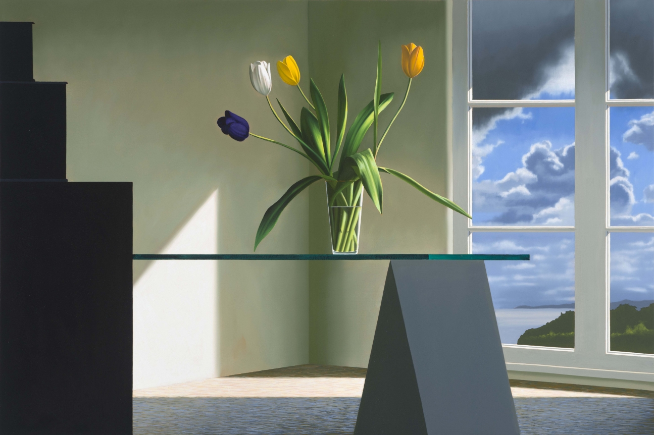 Bruce Cohen, Tulips on Glass Table, Oil on canvas