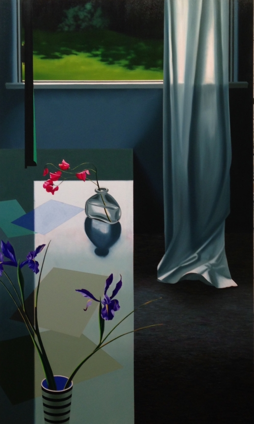 Bruce Cohen, Interior with Iris and Sweet Peas, 2016, Oil on canvas, Painting, Still Life