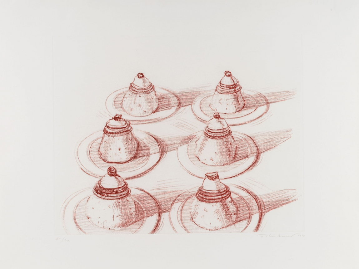 Wayne Thiebaud, Six Desserts, Etching