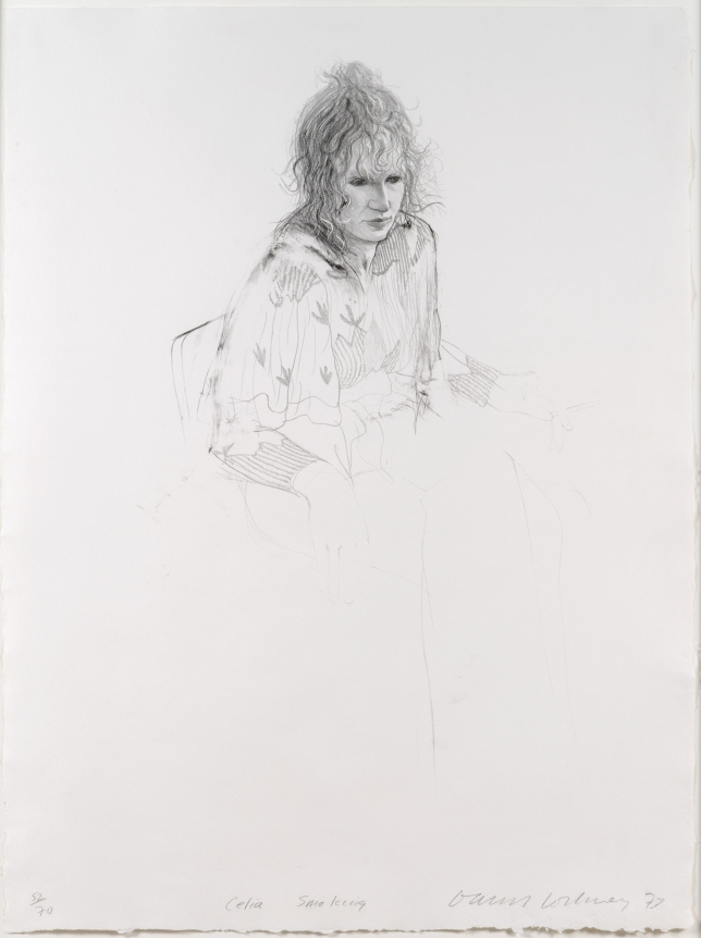 David Hockney, Celia Smoking, Lithograph
