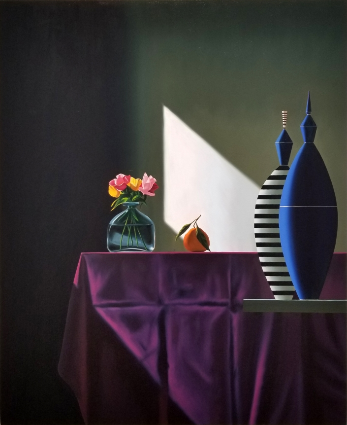 Bruce Cohen, Blu and Striped Vessels Next to purple Tablecloth