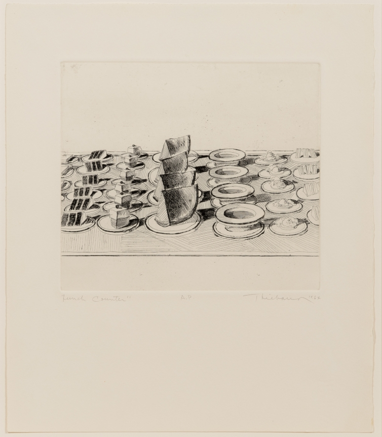 Wayne Thiebaud, Lunch Counter, from Delights, etching