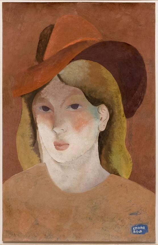 Bela Kadar, Woman with Hat, circa 1930's, gouache on paper