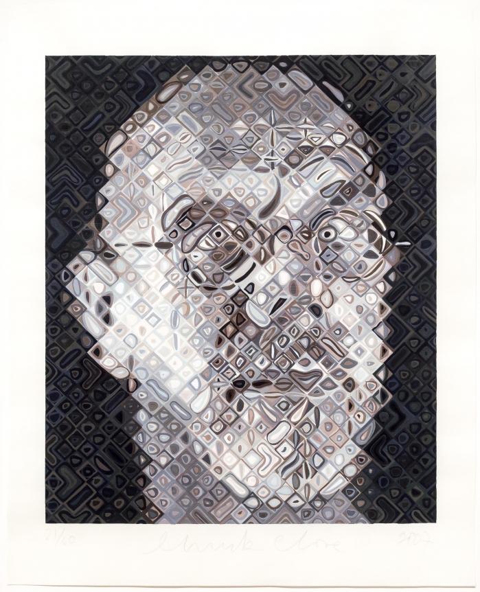 Chuck Close, Self-Portrait, Woodcut