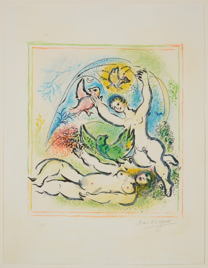 Marc Chagall, In the Land of the Gods, 1967, Signed Lithograph