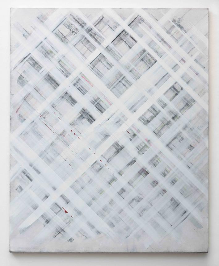 Ed Moses, White Grid, Acyrlic on canvas
