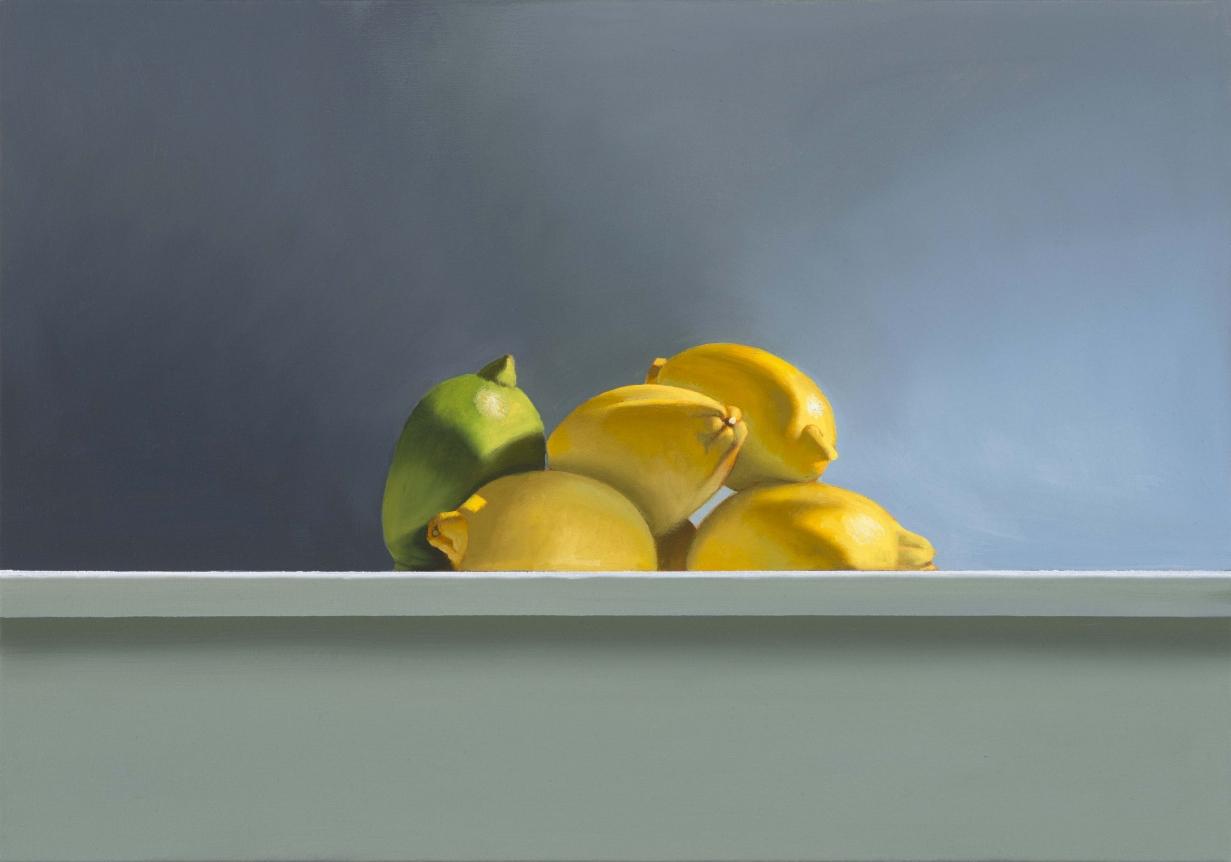 Bruce Cohen, Lemons on a Ledge, Oil on canvas