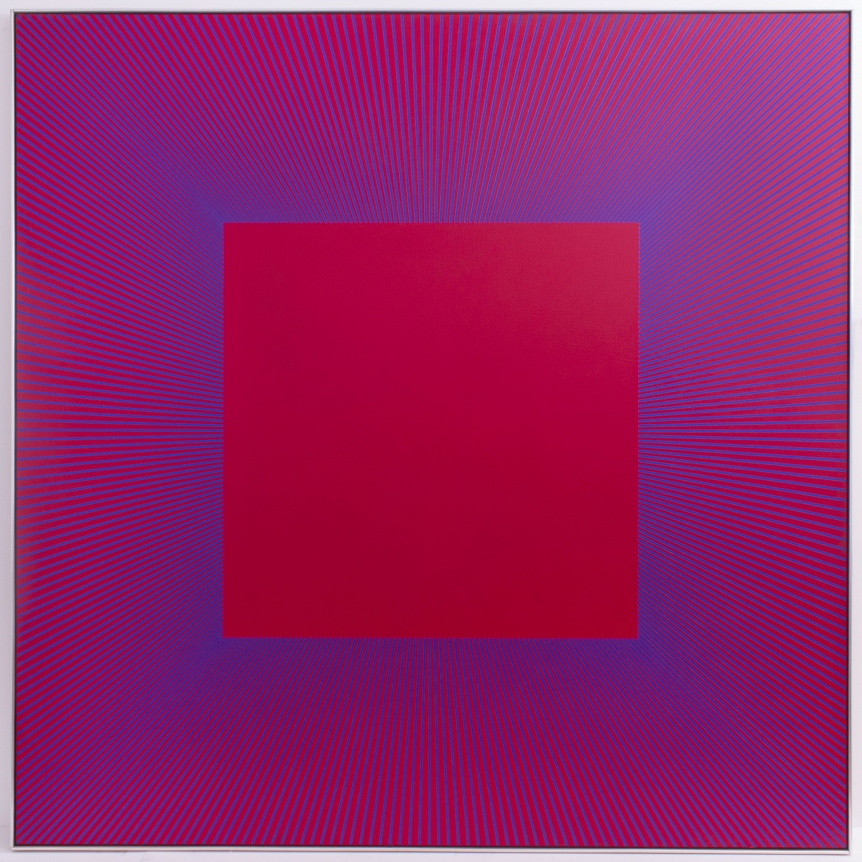 Richard Anuszkiewicz Op art centered square painting
