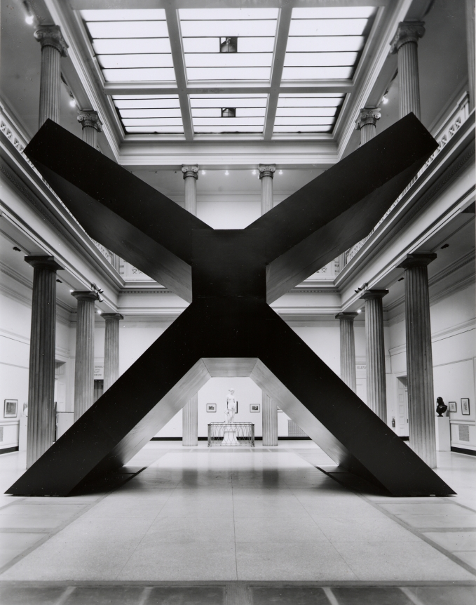 Ronald Bladen, X, 1967-68, black minimalist sculpture