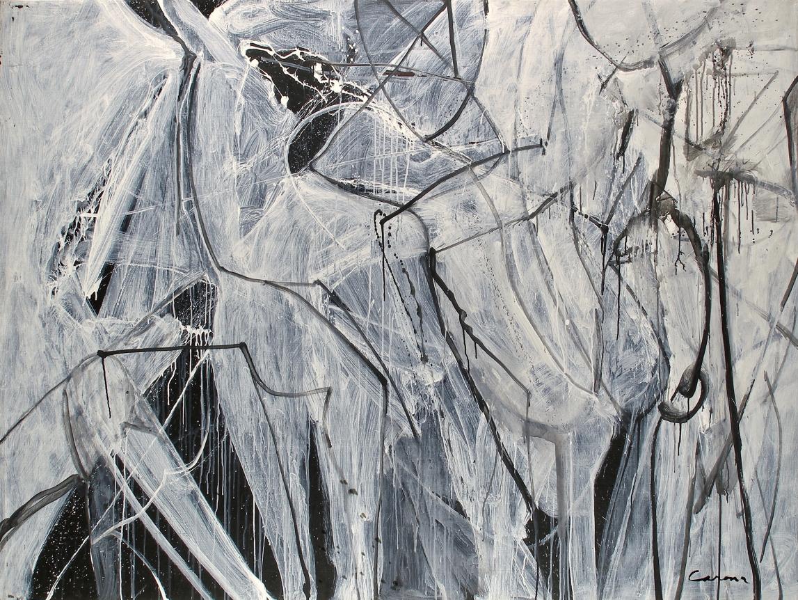 Nicolas Carone Black and White oil painting