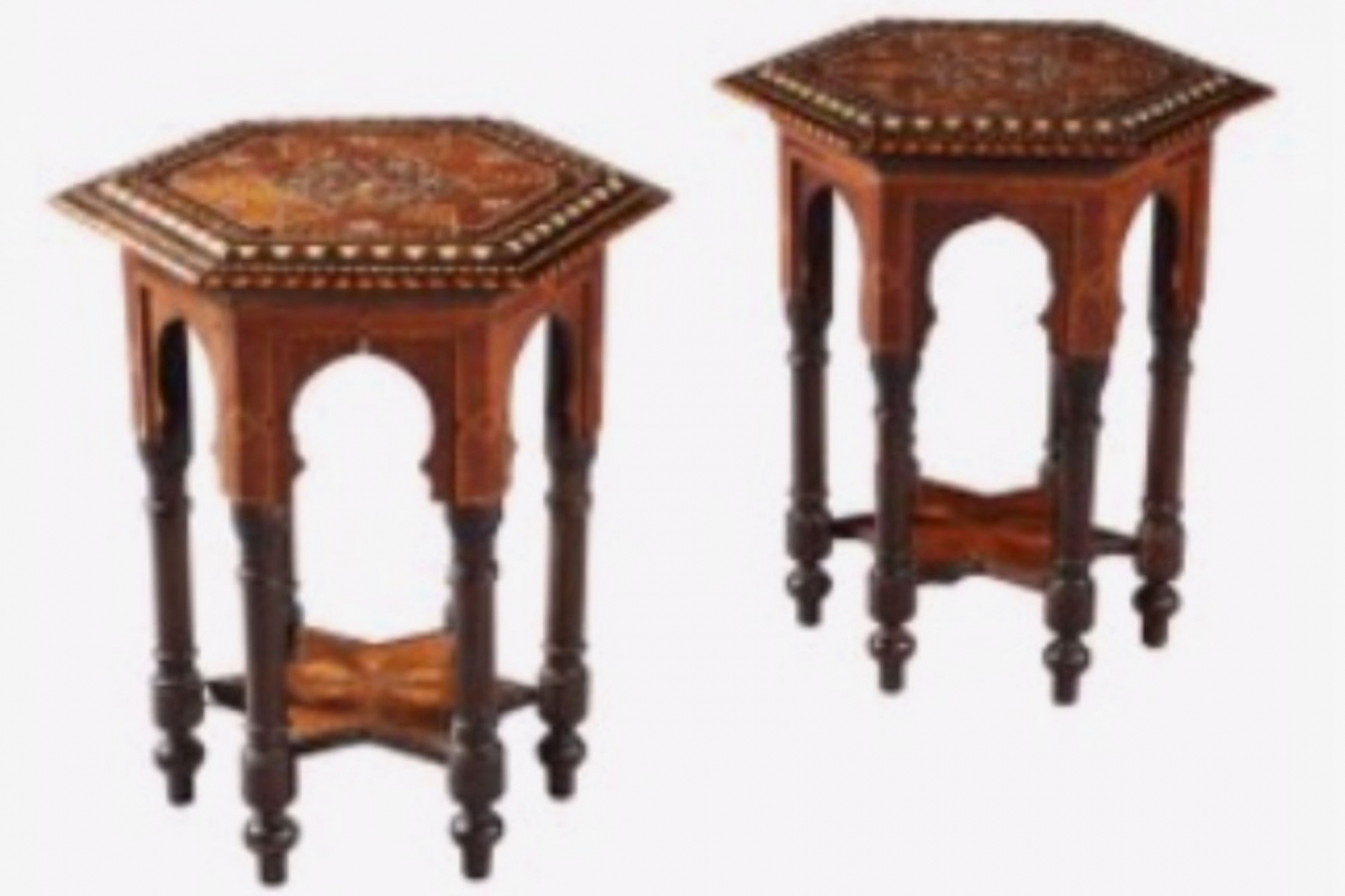 Occasional Tables in the Moorish Taste with Bone Inlay