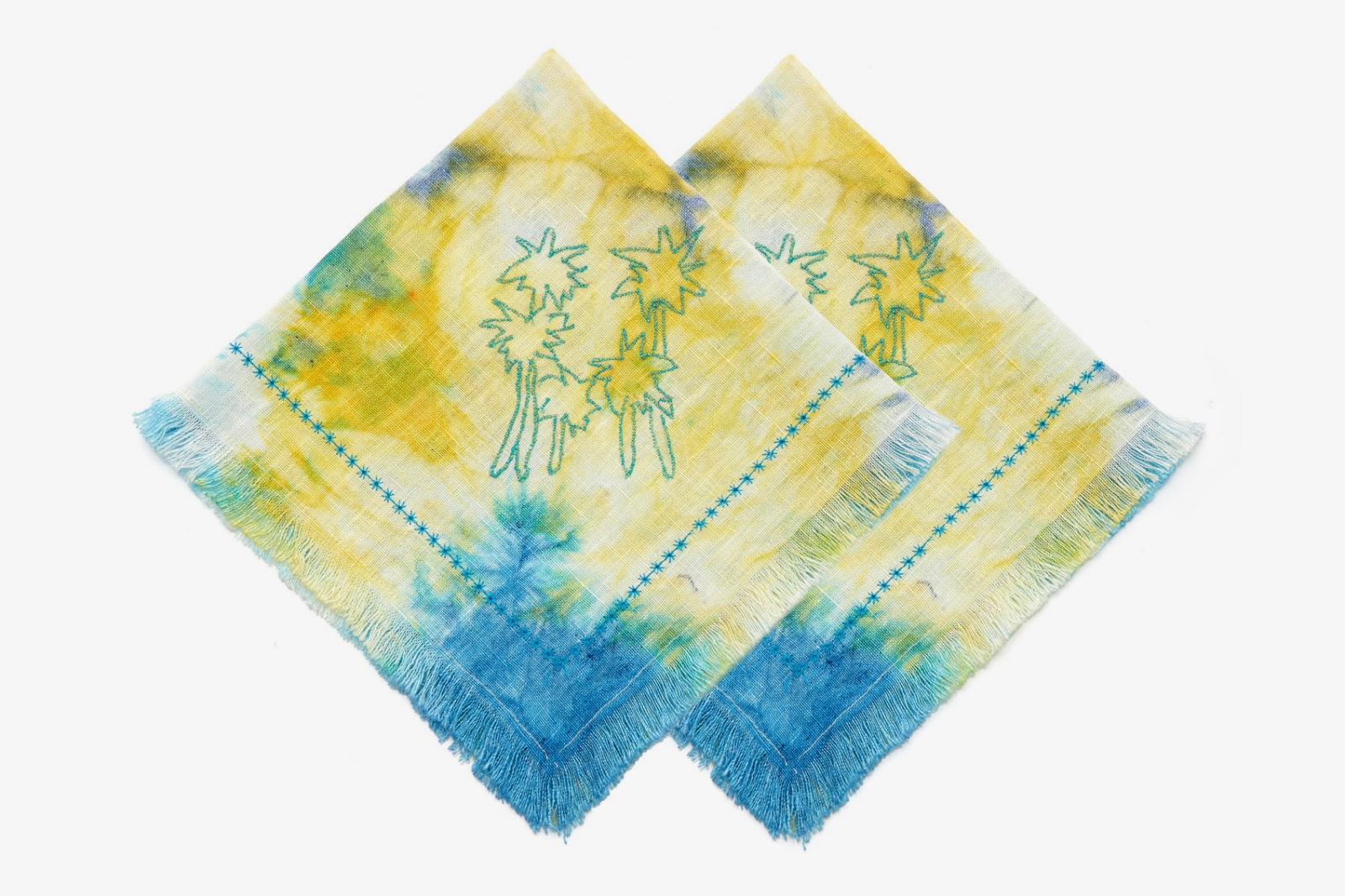 Hand Dyed & Stitched Linen Embroidered Napkins