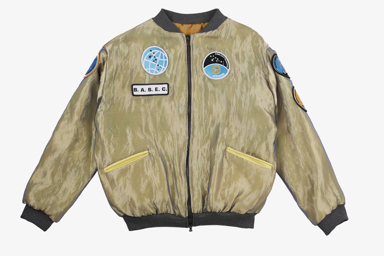 B.A.S.E.C. Yellow Metal Bomber Jacket