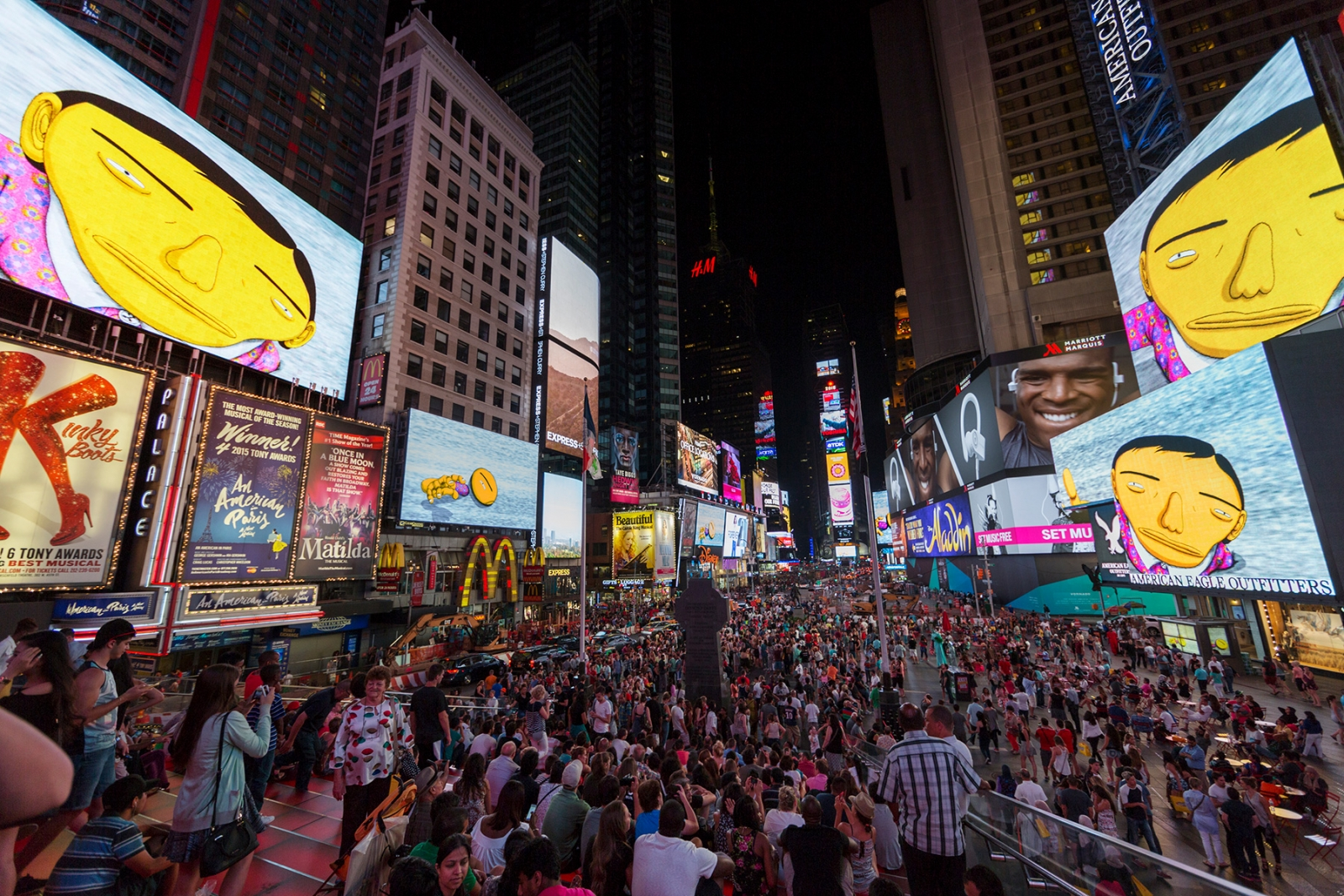 """OSGEMEOS, Parallel Connection, """"Midnight Moment,"""" Times Square, New York"""