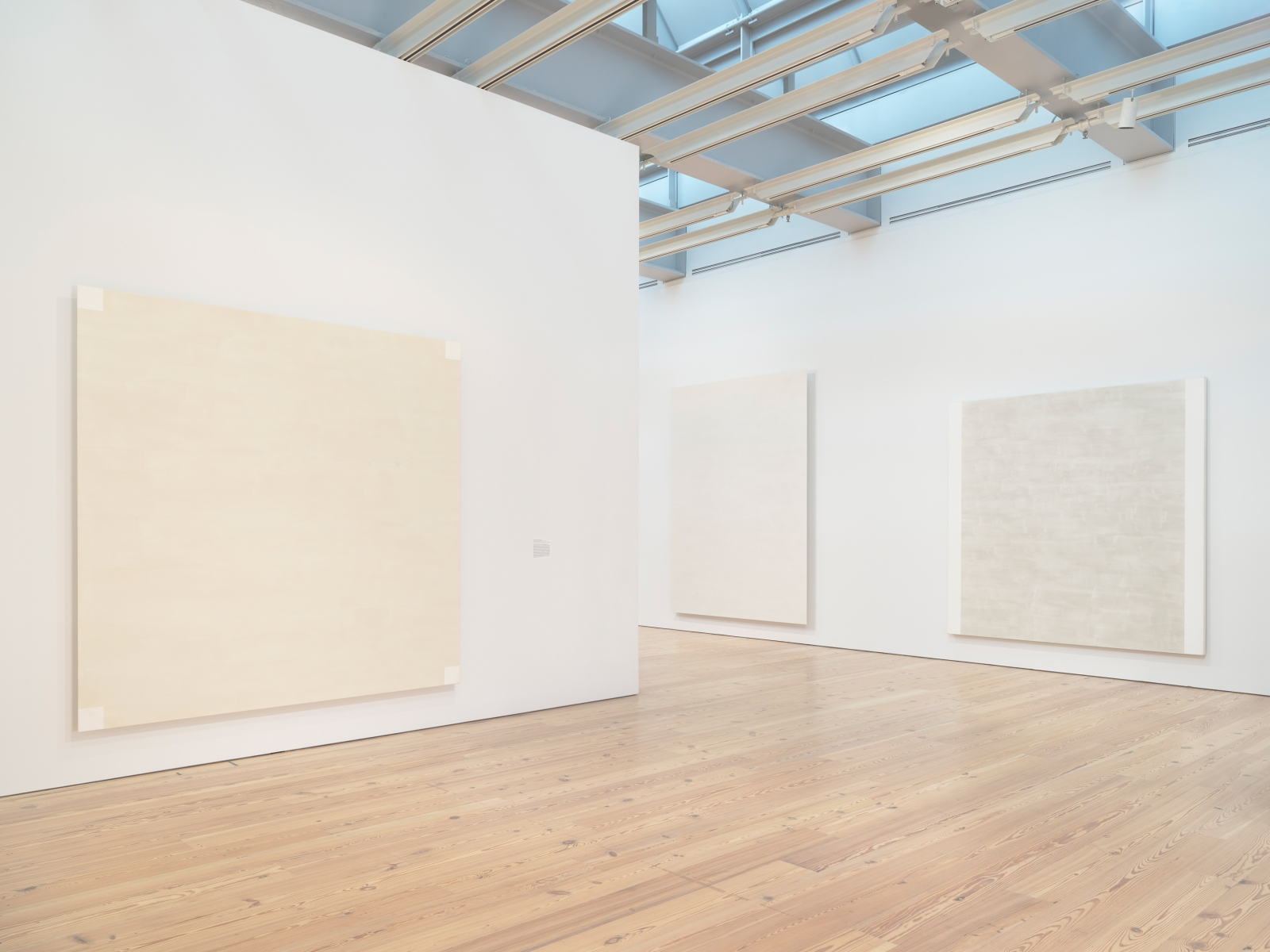 Installation photo of the 2018 exhibition Mary Corse: A Survey in Light at the Whitney Museum of American Art, New York, view 6