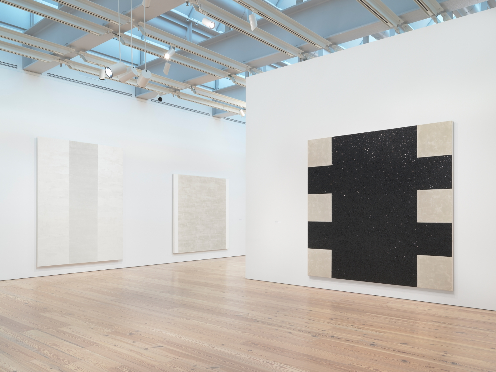 Installation photo of the 2018 exhibition Mary Corse: A Survey in Light at the Whitney Museum of American Art, New York, view 9