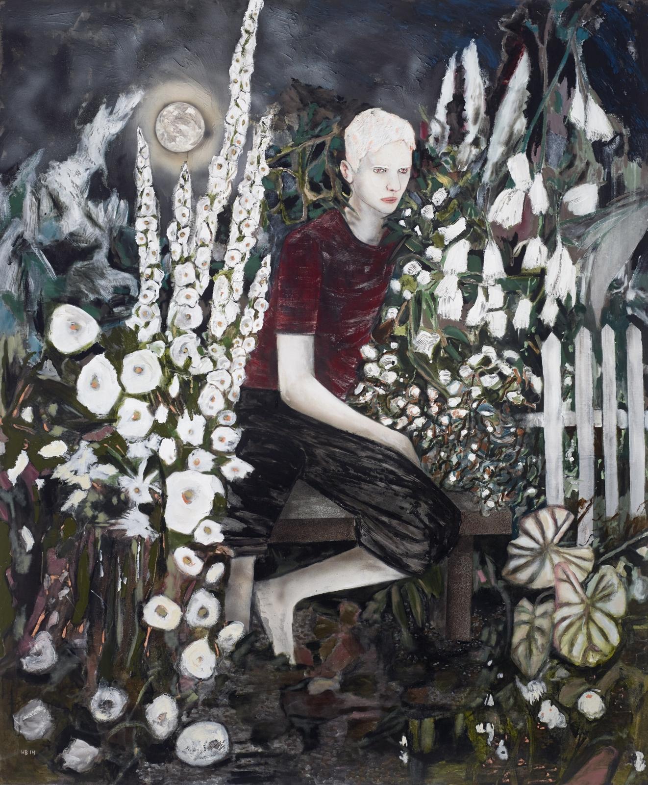 HERNAN BAS, Albino in a moonlight garden, 2014