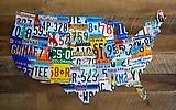 United States License Plate Art on Barnwood ©1996