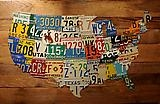 Vintage License Plate Art on Barnwood ©1996