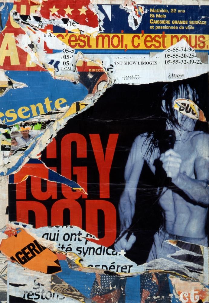 """Jacques Villegle, """"IGGY POP, LIMOGES, JUILLET 1999"""", Decollage on canvas"""